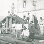 Workers engaged in Albania for the reconstruction of the Scanderbeg Barracks.