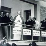Pope Paul VI visits the Pietralata building site in Rome.
